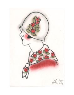 "Art Deco Art - Original drawing - Little Millie at the races 4"" X 6"""