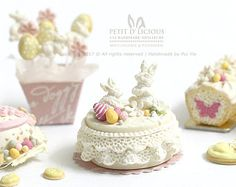 SPRING Easter Bunny Garden Lace Cake - Blossom Easter- Dollhouse Miniature Cake 1:12