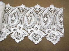 """Vintage 1980's Viscose Guipure Venise Lace 8"""" Wide Galloon White by treschic53 on Etsy"""