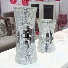 Mosaics Using Glass On Glass | Silver Mirrored Mosaic Glass Vase - Buy Mosaic Glass Vase,Glass Vase ...