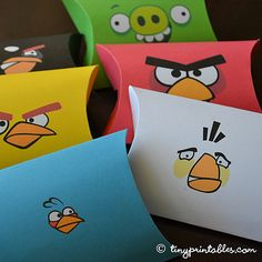 Angry Birds Birthday Party Printables - Favor Boxes - To get your own set of these coolest Angry Birds birthday party invitations, please go to TinyPrintables.com. See you there!