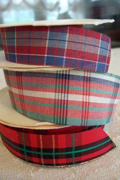 "NWT: Three Rolls ""PLAIDS"" Fabric Ribbon 10 Feet 1 In. CLOSEOUT. $1.49, via Etsy."