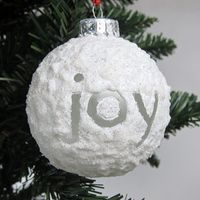 *FAVORITE*  SNOWBALL ornaments -- using a textured medium called Snow-Tex painted on ornament balls, gives them the look of a glittery snowball. These are a little messy, but really easy to make. They would be a great project with kids especially if you use *plastic* instead of glass balls.   The *Snow-Tex dries hard and solid*, so there is no flaking off on the final ornament!