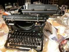 """Typewriter used as table centerpiece at """"Spring Revel"""" for the Paris Review in NYC."""