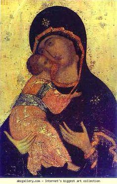 Andrei Rublev. The Virgin of Vladimir. Detail. Olga's Gallery.