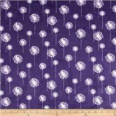 Premier Prints Mockingbird Minky Cuddle Dandelion Amethyst/Snow
