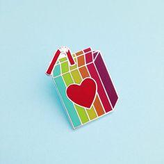 Retro Rainbow Juice Box Enamel Pin Badge Lapel Pin by fairycakes