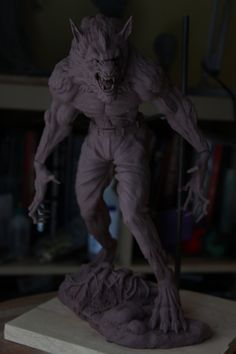 Heres a pic of my Werewolf sculpt finished. He is ready to be cut up and molded soon. The piece is tall and sculpted in Monster Clay. Dark Fantasy, Fantasy Art, Of Wolf And Man, Skin Walker, Bark At The Moon, Werewolf Art, Humanoid Creatures, Weird World, Artists Like