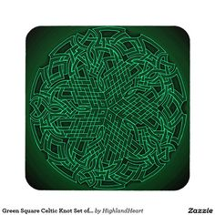 Green Square Celtic Knot Set of 6 Coasters