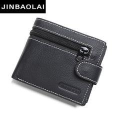 JINBAOLAI brand Wallet men genuine leather men wallets purse short male leather wallet men money bag quality guarantee carteira