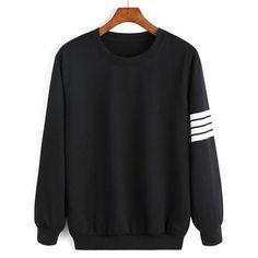 Women Sweatshirt, Striped Sleeve, Black