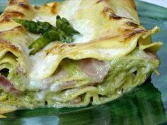 Lasagne alla Crema di Asparagi,stracchino al prosciutto cotto.