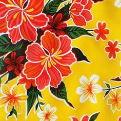 Mexican Oilcloth in Yellow HibiscusWidth:120cmClassic Mexican oil cloth in Hibiscus print. Stain resistant vinyl fabric, wipe clean. If you require more than 6 metres please order two lengths. Oilcloth will be sent in one continous piece up to a maximum length of 10metres.Full rolls available (10.9metres) please email for details.