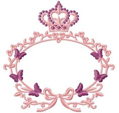 crown and frame with butterflies / Monogram frame embroidery design