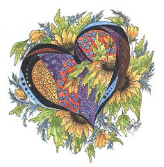 Hearts Embraced With Yellow Daisies Painting