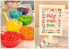 separate jelly beans / smarties / skittles etc. into their own coloured bowls to really inject colour into your party