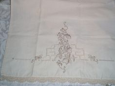 Lot of 2 Vintage Tan and Cream Hand Linen Towels Hand Embroided Edge Crocheted | eBay