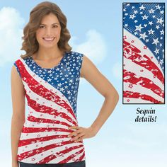 Starburst American Flag Tank Top American Flag Tank, American Pride, Collections Etc, Patriotic Decorations, Blue Design, Tank Tops, Clothes, Dresses, Style