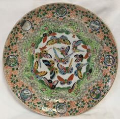 Antique 1840 1880 Chinese Export Bird Butterfly Plate Charger | eBay