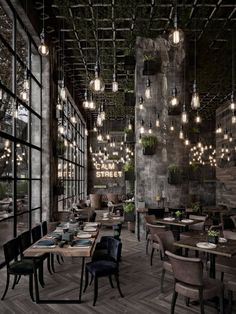 Business İdeas 350577152245937611 - Qatar Calm Street Cafe Source by sybillegh Bistro Interior, Coffee Shop Interior Design, Loft Interior, Restaurant Interior Design, Coffee Cafe Interior, Industrial Restaurant Design, Cafe Shop Design, Deco Restaurant, Rustic Restaurant