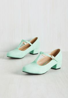 On the Edge of Your Sweet T-Strap Heel in Mint. After wrapping up another day spent in these mint green kitten heels, youre always eager to imagine the next ensemble in which theyll star! #mint #modcloth