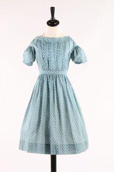 printed cotton girl's dresses. 1840s, striped lozenge repeat