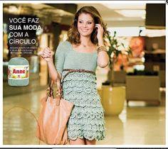 Nana crochê: Vestido verde água de crochê com babado