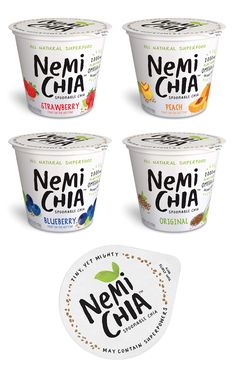 "Portable Superfood Snacks : ""chia seed snacks""—— Love the copy and font treatment. Yogurt Packaging, Dairy Packaging, Ice Cream Packaging, Fruit Packaging, Food Packaging Design, Beverage Packaging, Bottle Packaging, Packaging Design Inspiration, Brand Packaging"