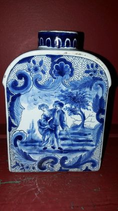 Antique Dutch Delft tea canister caddy   eBay £30
