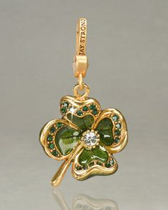 """Jay Strongwater """"Dhanya"""" Four-Leaf Clover Charm - Neiman Marcus Bling Jewelry, Charm Jewelry, Jewellery, Jay Strongwater, Gemstone Brooch, Juicy Couture Charms, Love Charms, Four Leaf Clover, Lucky Charm"""