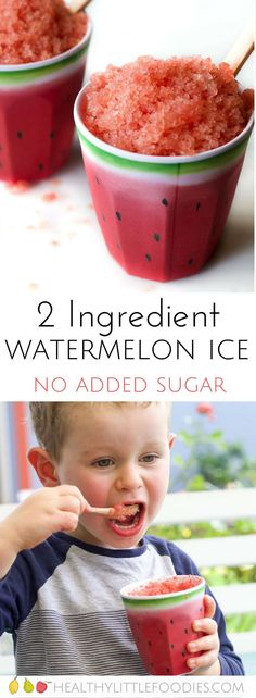 Watermelon ice for kids. A healthy 2 ingredient frozen snack. NO added sugar, a great alternative to snow cones. via ice for kids. A healthy 2 ingredient frozen snack. NO added sugar, a great alternative to snow cones. Healthy School Snacks, Healthy Treats, Healthy Desserts For Kids, Healthy Drinks, Summer Kids Snacks, Healthy Recipes For Kids, Healthy Kids Party Food, Healthy Eating For Kids, Quick Snacks