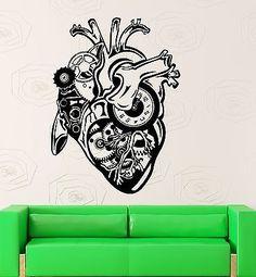 Wall Sticker Vinyl Decal Steampunk Mechanical Heart Motor Engine (ig2222)