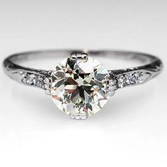 Antique Engagement Ring w/ Old European Cut Diamond in Platinum Circa 1925