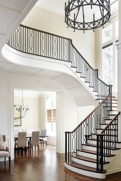 The Next Level: 14 Stair Railings to Elevate Your Home Design Different staircase railing posts that look beautiful Iron Staircase Railing, Stair Railing Design, Wrought Iron Stairs, Staircase Ideas, Staircases, Banisters, Iron Spindle Staircase, Stairs Balusters, Wrought Iron Stair Railing