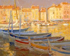Kevin Macpherson Oil Painting of Boats, Harbor, Sunlight