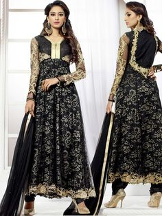 Enchanting black color #Anarkali planed on net with glossy kundan and zari work. Item Code : SLHD6023 http://www.bharatplaza.com/new-arrivals/salwar-kameez.html