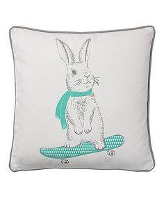 Look at this #zulilyfind! White & Mint Rabbit Throw Pillow #zulilyfinds
