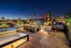 Lighting is so important!  The subtle, calm lighting on this roof terrace make it an inviting place to spend time.