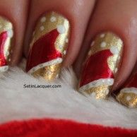 Nice GoldenP Polka Dot Nail Art Design with Christmas Santa Hat Decals in Red and White - Sparklya nd Easy Red and White Christmas Nail Art ...