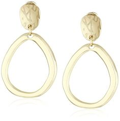 Anne Klein Gold Tone Pave Drop Hoop Clip-on Earrings ** Check out this great image @ http://www.amazon.com/gp/product/B018EEC1E6/?tag=ilikeboutique09-20&za=160816031755