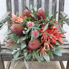 Natives prove just how easy it is to create a simple bouquet. The banksias here are a wonderful focal point with leucadendrons eucalyptus and gumnuts finishing it off. Simple Wedding Bouquets, Protea Wedding, Diy Wedding Flowers, Bridesmaid Flowers, Bridal Flowers, Floral Bouquets, Cut Flowers, Bush Wedding, Bridal Bouquets