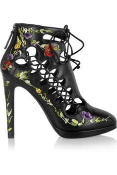 Giuseppe Zanotti for Christopher Kane Embroidered Leather Lace-Up Boots
