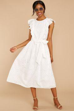 52aafbd4 Adorable White Eyelet Lace Midi - Lace Midi Sun Dress - Dress - $54.00 – Red