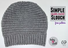 Double Crochet Slouch Hat Free Pattern - Adult Medium Gray Slouch Pictured - Available in Sizes Baby to Adult - Free Crochet Patterns using Red Heart Soft Yarn