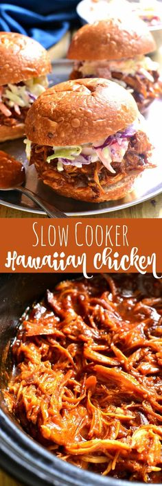 This Slow Cooker Hawaiian Chicken is sweet and smoky and slow. This Slow Cooker Hawaiian Chicken is sweet and smoky and slow cooked to perfection. It makes a great sandwich and is perfect for family dinners parties game day or anytime Slow Cooker Huhn, Crock Pot Slow Cooker, Crock Pot Cooking, Slow Cooker Recipes, Crockpot Recipes, Chicken Recipes, Cooking Recipes, Healthy Recipes, Pasta Recipes