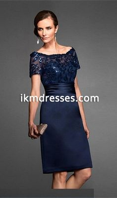 2015 V-Neck Navy Mother of the Bride Dresses Knee-Length With ...