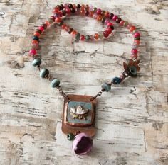 Boho rustic knotted waterlily necklace mixed by WinterBirdStudio