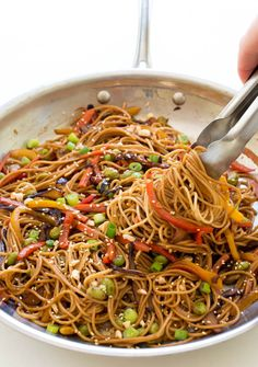 Rainbow Vegetable Noodle Stir-Fry. A quick and healthy weeknight dinner that takes less than 20 minutes to make! | chefsavvy.com #dinner #vegetarian #recipe #vegetables #dinner