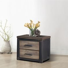 @Overstock.com - Heritage 2-drawer Nightstand - This handsome nightstand is made of wood with a weathered finish for a vintage look. This nightstand has two drawers to add storage space to any room.   http://www.overstock.com/Home-Garden/Heritage-2-drawer-Nightstand/7954287/product.html?CID=214117 $229.99