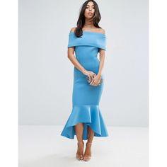 Peplum midi dress white or blue